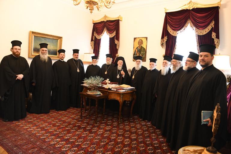Bartolomé I recibiendo a la delegación del patriarcado de Jerusalén